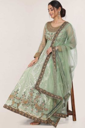 Party Wear Light Olive Green Net Readymade Gown