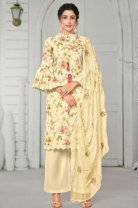 Party Wear Light Yellow Pure Jam Cotton Plazzo Suit