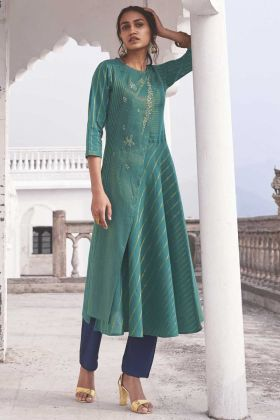 Party Wear Linen Cotton Green Handloom Top With Bottom
