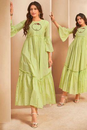 Party Wear Mal Cotton Light Green Readymade Kurti