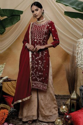 Party Wear Maroon Chinon Embroidery Work Salwar Suit