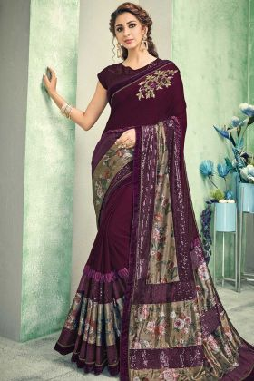 Party Wear Maroon Lycra Saree With Raw Silk Blouse