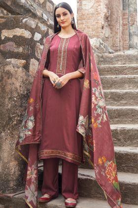 Party Wear Maroon Muslin Semi Stitched Salwar Suit