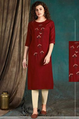 Party Wear Maroon Readymade Kurti In Embroidered