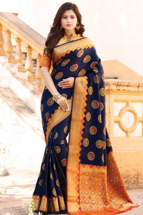 Party Wear Navy Blue Banarasi Art Silk Saree