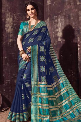 Party Wear Navy Blue Cotton Silk Saree