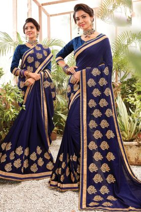 Party Wear Navy Blue Embroidered Chanderi Silk Saree