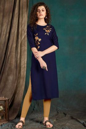 Party Wear Navy Blue Readymade Kurti In Embroidered