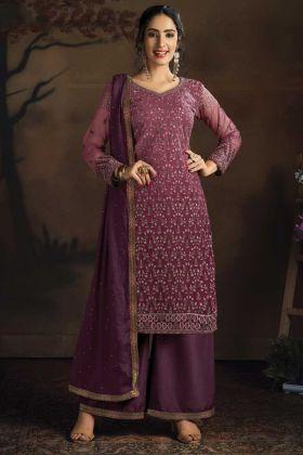Party Wear Net Fabric Wine Color Salwar Suit