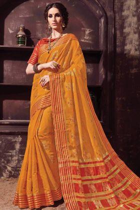 Party Wear Orange Color Cotton Silk Saree
