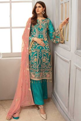 Party Wear Pakistani Style Turquoise Georgette Salwar Suit