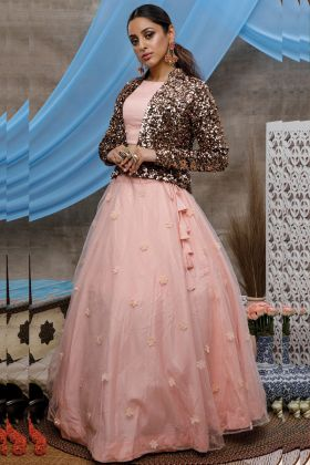Party Wear Peach Color Fancy Latset Lehenga Choli With Koti