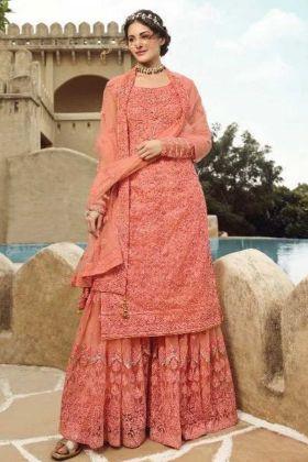 Party Wear Peach Net Sharara Suit With Swarvoski Work