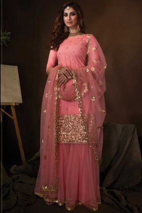 Party Wear Pink Color Soft Net Fabric Sequence Work Sharara Suit
