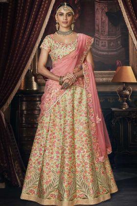 Party Wear Pista Handloom Silk Designer Lehenga