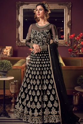 Party Wear Premium Net Black Indo Western Suit For Wedding