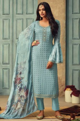Party Wear Pure Chinon Sky Blue Semi Stitched Salwar Suit