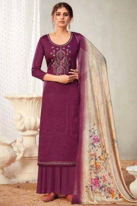 Party Wear Purple Pure Solid Zam Cotton Salwar Suit