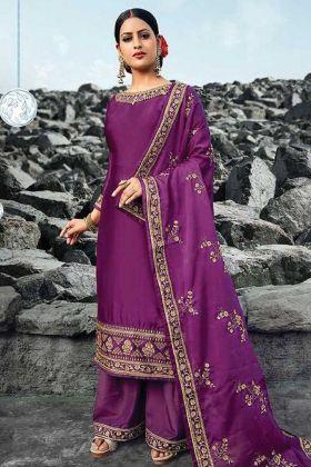 Party Wear Purple Satin Georgette Suit