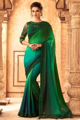 Party Wear Rainbow Silk Fancy Saree Bouse Designs In Green
