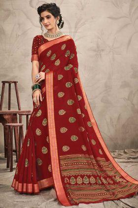 Party Wear Red Color Chanderi Jari Work Saree