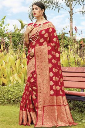 Party Wear Red Cotton Handloom Saree