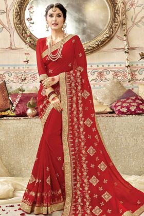 Party Wear Red Georgette Red Saree