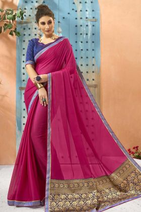 Party Wear Saree In Georgette Pink Color