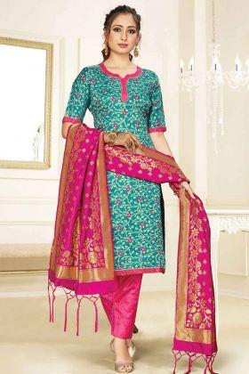 Party Wear Special Blue Banarasi Art Silk Salwar Suit