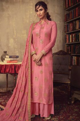Party Wear Special Pink Jacquard Silk Salwar Suit