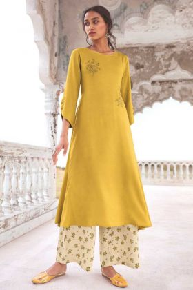 Party Wear Super Fine Modal Khadi Yellow Readymade Kurti