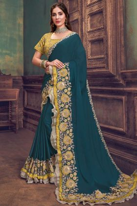 Party Wear Teal Blue Silk Georgette Embroidred Saree