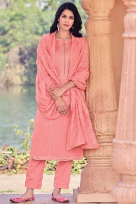 Party Wear Viscose Muslin Peach Color Salwar Suit