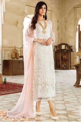 Party Wear White Georgette Eid Special Suit