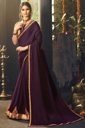 Party Wear Wine Color Satin Silk Saree