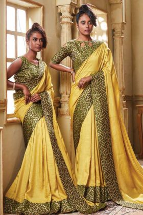 Party Wear Yellow Color Soft Art Silk Weaving Saree