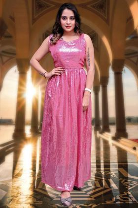 Party Wearing New Collection Pink Color Georgette Woman's Dress