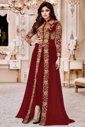 Party Designer Suit Georgette In Maroon Color Shamita Gold