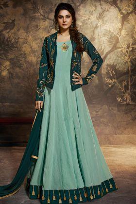 Party Wear Anarkali Dresses in Teal Green