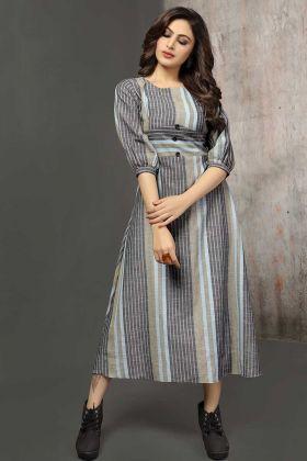 Party Wear Anarkali Kurti Cotton Fabric