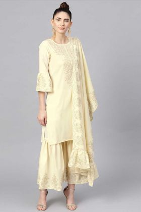 Party wear Cream Color Crepe Fabric Printed Sharara Suit