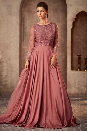 Party Wear Designer Pink Gown With Khat Work