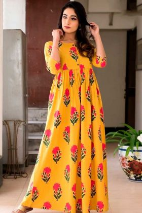 Party Wear Designer Yellow Pure Muslin Gown
