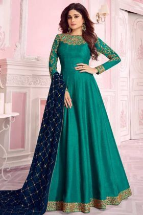 Party Wear Embroidery Anarkali Dress In Turquoise Color