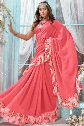 Party Wear Frill Saree Georgette Fabric With Light Pink Color