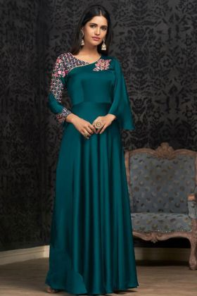 Party Wear Glowing Georgette Teal Blue Gown