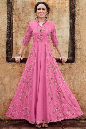 Party wear Gown Rayon Gold Fabric Pink Color