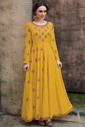 Party wear Gown Rayon Gold Fabric Yellow Color