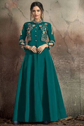 Party Wear Gown Soft Taffeta Teal Green Color