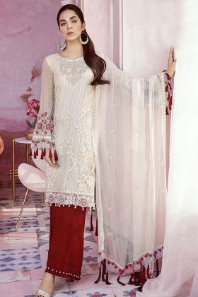 Party Wear Heavy Georgette White Palazzo Salwar Suit